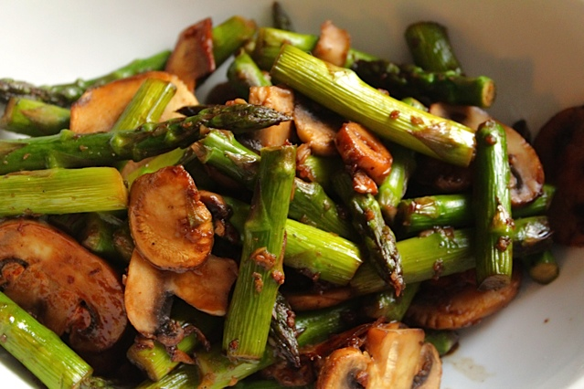 Mushroom and Asparagus Medley with a Soy Sauce and White Wine Glaze
