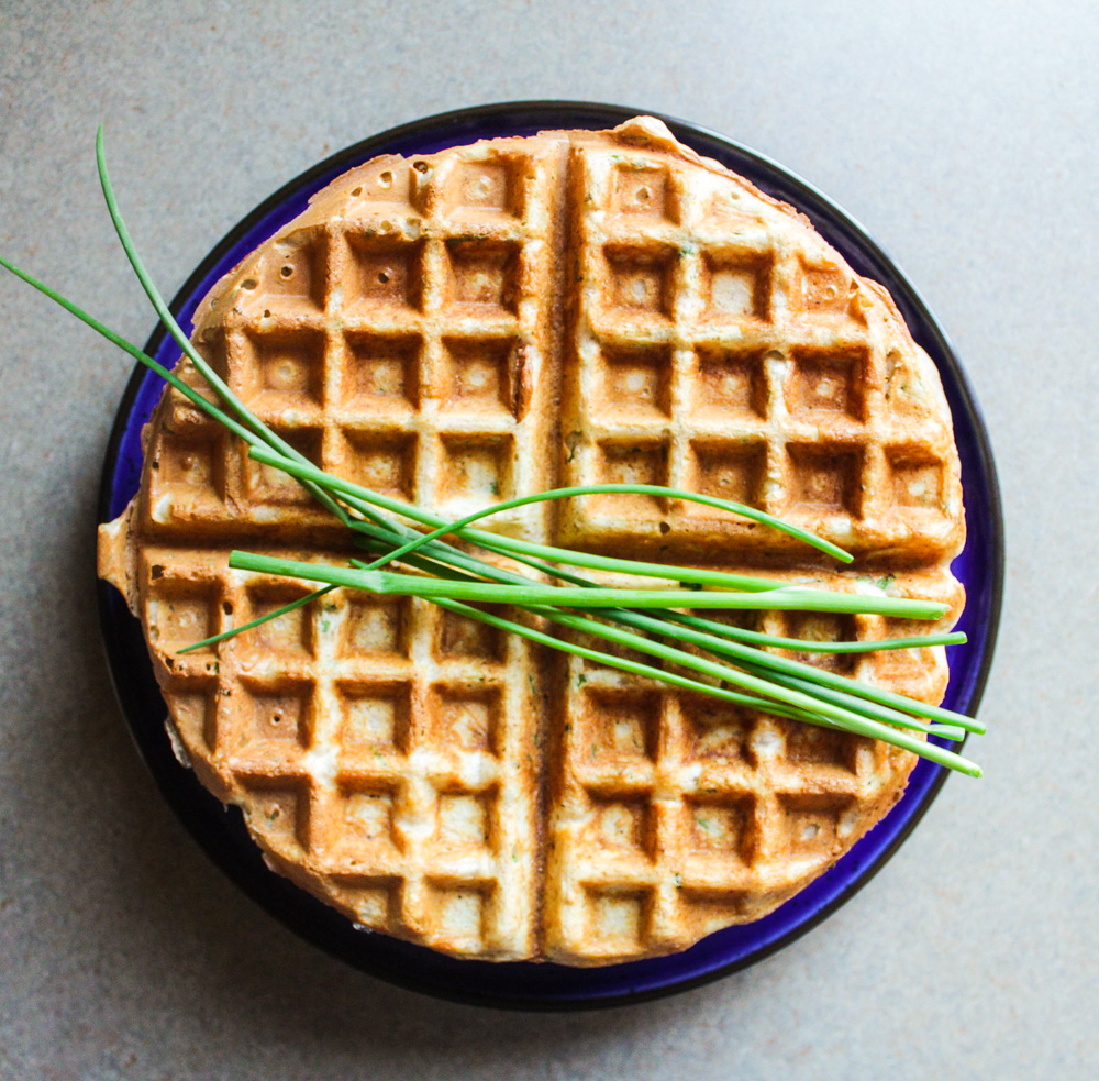 Savoury waffles with chives