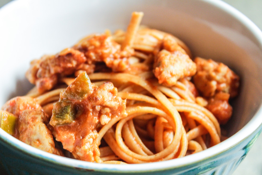Spicy Linguine with Sausage in a Rose Sauce