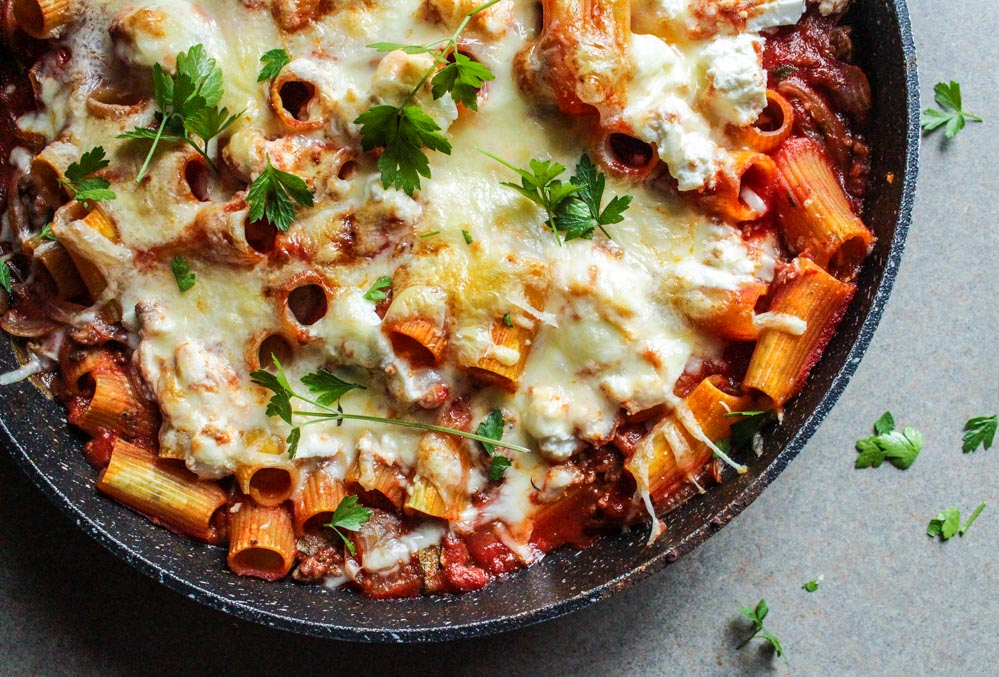 You are here: Home / Recipes / Skillet Baked Ziti