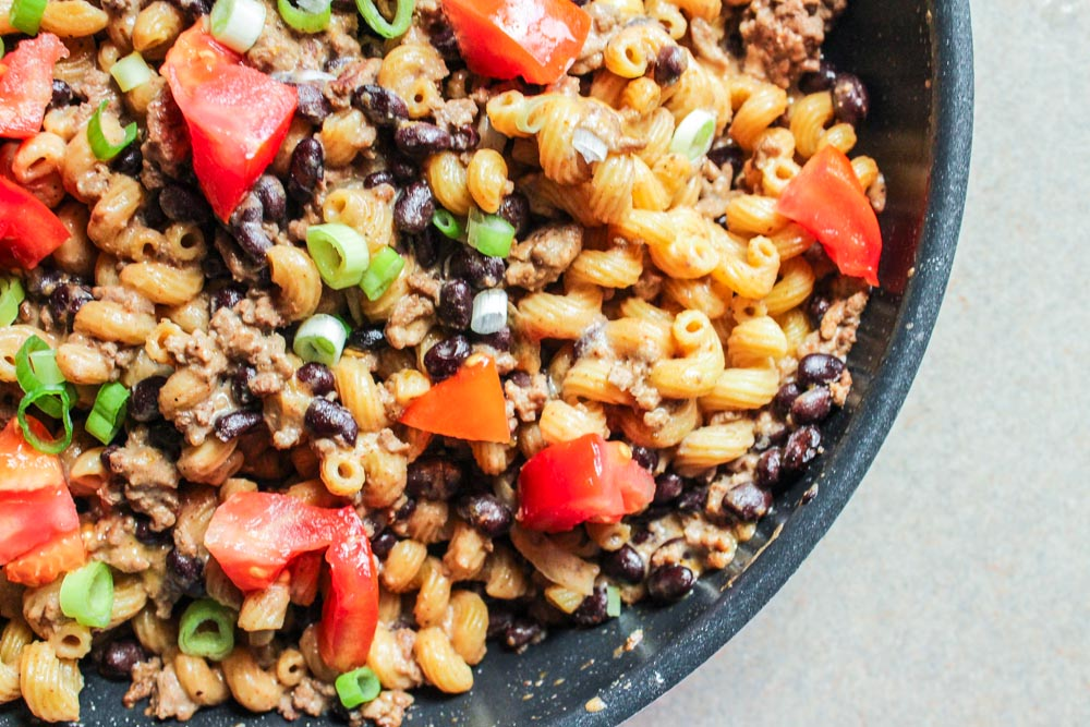 One Pot Taco Pasta with Black Beans